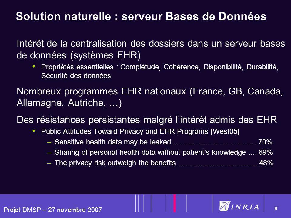 Projet DMSP – 27 novembre 2007 6 Solution naturelle : serveur Bases de Données Intérêt de la centralisation des dossiers dans un serveur bases de donn