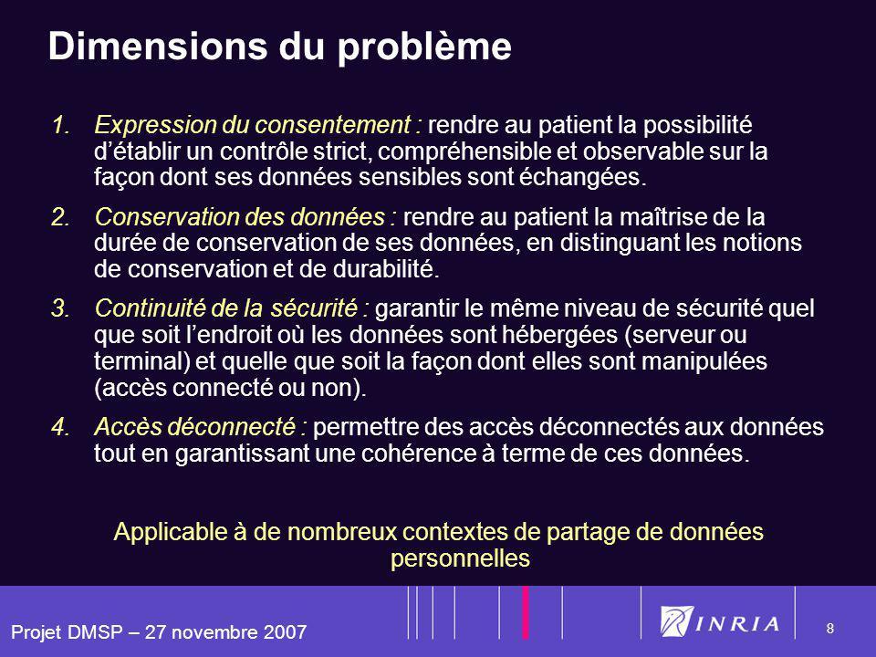 Projet DMSP – 27 novembre 2007 8 Dimensions du problème 1.Expression du consentement : rendre au patient la possibilité détablir un contrôle strict, compréhensible et observable sur la façon dont ses données sensibles sont échangées.