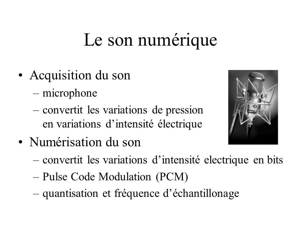 Le son numérique Acquisition du son –microphone –convertit les variations de pression en variations dintensité électrique Numérisation du son –convert