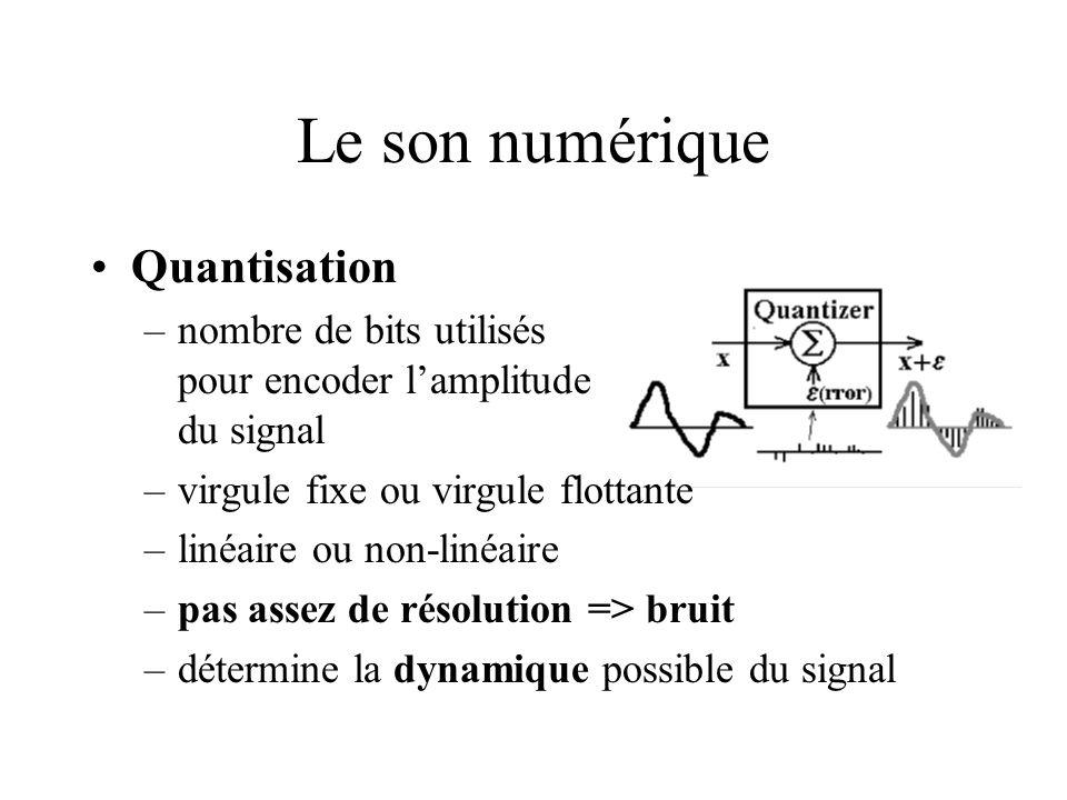 Le son numérique Quantisation –nombre de bits utilisés pour encoder lamplitude du signal –virgule fixe ou virgule flottante –linéaire ou non-linéaire