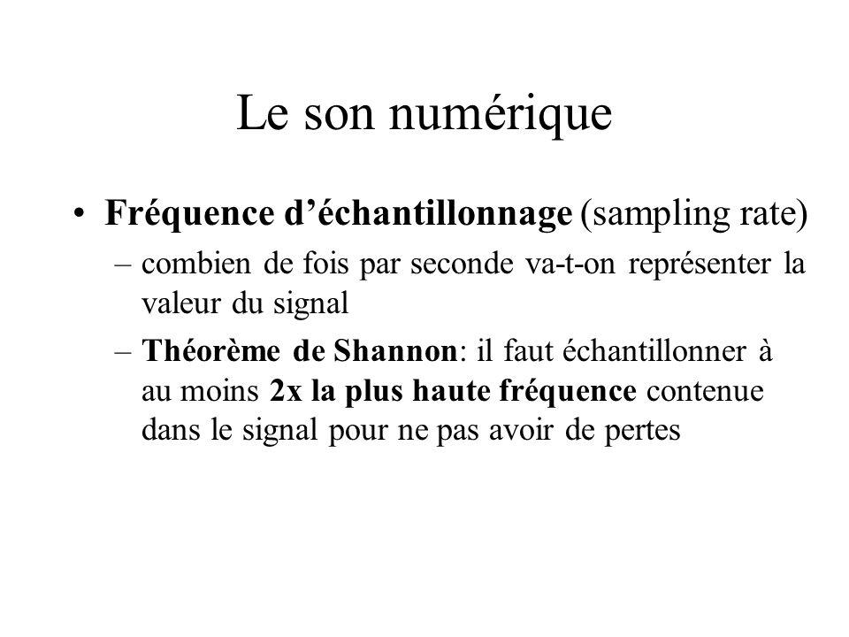 Le son numérique Fréquence déchantillonnage (sampling rate) –combien de fois par seconde va-t-on représenter la valeur du signal –Théorème de Shannon:
