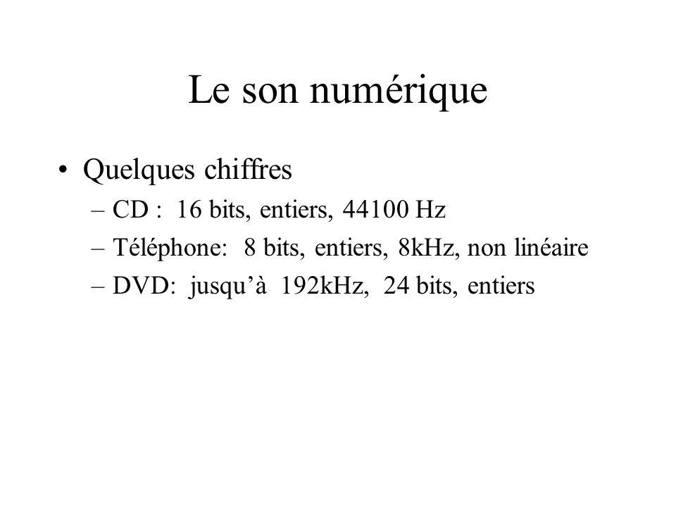 Le son numérique Quelques chiffres –CD : 16 bits, entiers, 44100 Hz –Téléphone: 8 bits, entiers, 8kHz, non linéaire –DVD: jusquà 192kHz, 24 bits, enti