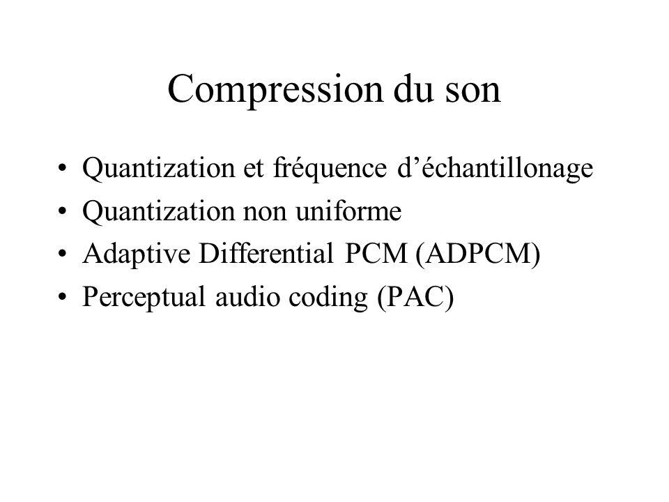 Compression du son Quantization et fréquence déchantillonage Quantization non uniforme Adaptive Differential PCM (ADPCM) Perceptual audio coding (PAC)