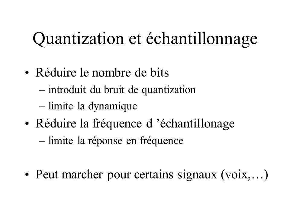 Quantization et échantillonnage Réduire le nombre de bits –introduit du bruit de quantization –limite la dynamique Réduire la fréquence d échantillona