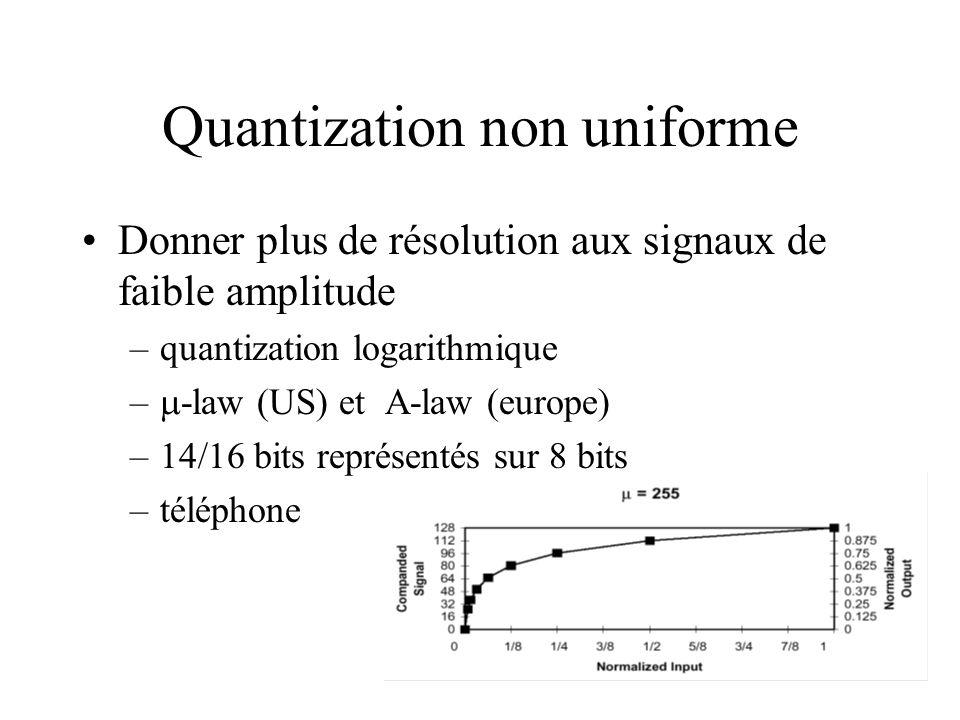 Quantization non uniforme Donner plus de résolution aux signaux de faible amplitude –quantization logarithmique – -law (US) et A-law (europe) –14/16 b