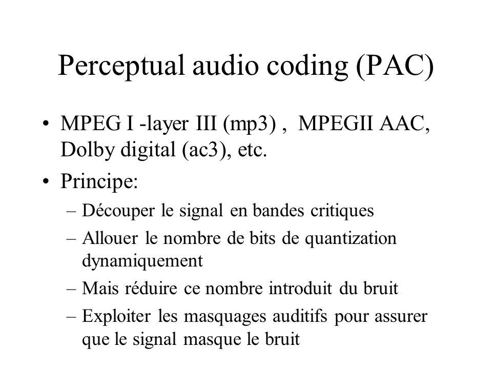 Perceptual audio coding (PAC) MPEG I -layer III (mp3), MPEGII AAC, Dolby digital (ac3), etc. Principe: –Découper le signal en bandes critiques –Alloue