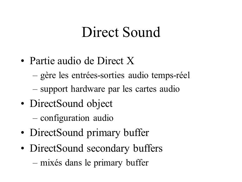 Direct Sound Partie audio de Direct X –gère les entrées-sorties audio temps-réel –support hardware par les cartes audio DirectSound object –configurat