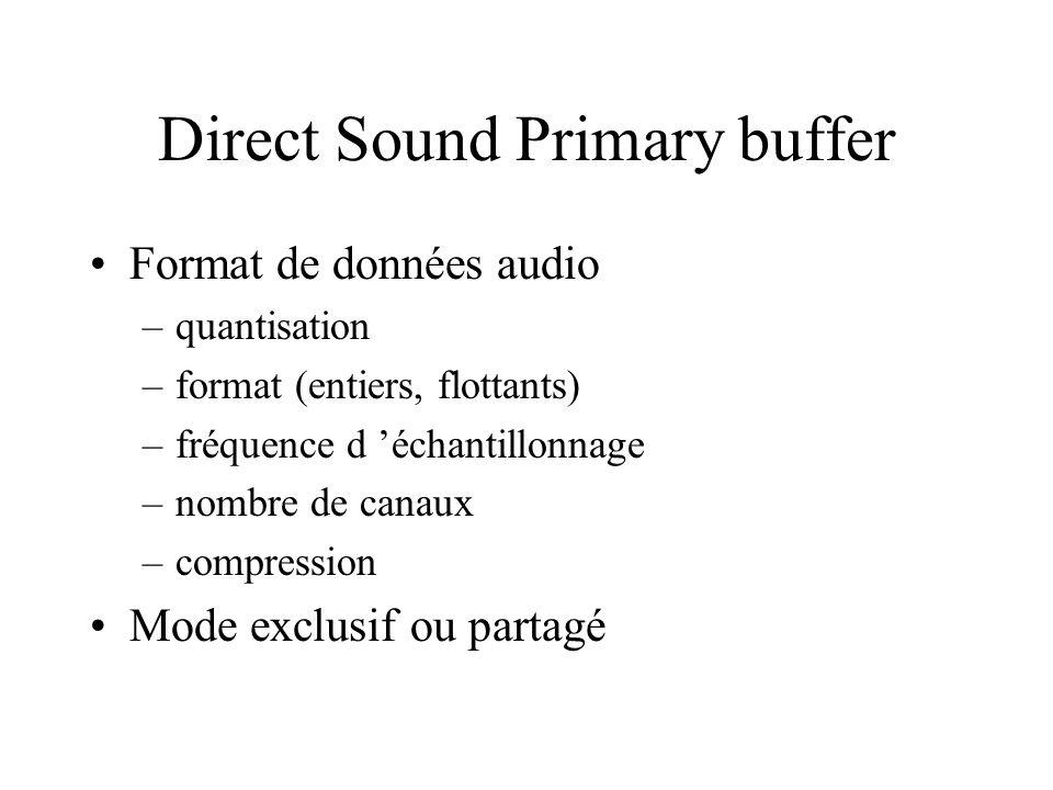 Direct Sound Primary buffer Format de données audio –quantisation –format (entiers, flottants) –fréquence d échantillonnage –nombre de canaux –compres