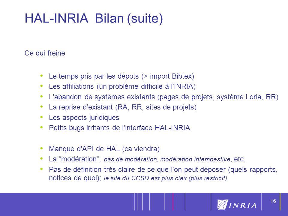 16 HAL-INRIA Bilan (suite) Ce qui freine Le temps pris par les dépots (> import Bibtex) Les affiliations (un problème difficile à lINRIA) Labandon de