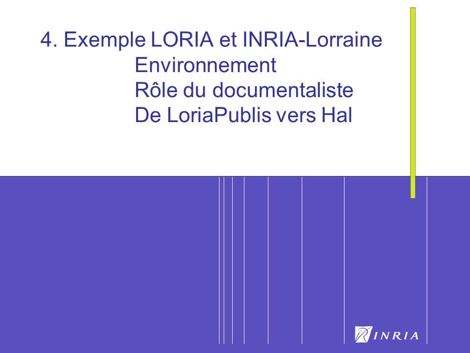 18 4. Exemple LORIA et INRIA-Lorraine Environnement Rôle du documentaliste De LoriaPublis vers Hal