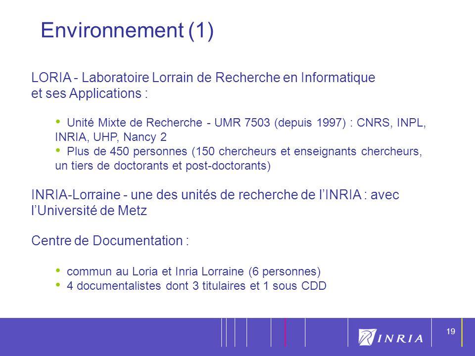 19 LORIA - Laboratoire Lorrain de Recherche en Informatique et ses Applications : Unité Mixte de Recherche - UMR 7503 (depuis 1997) : CNRS, INPL, INRI