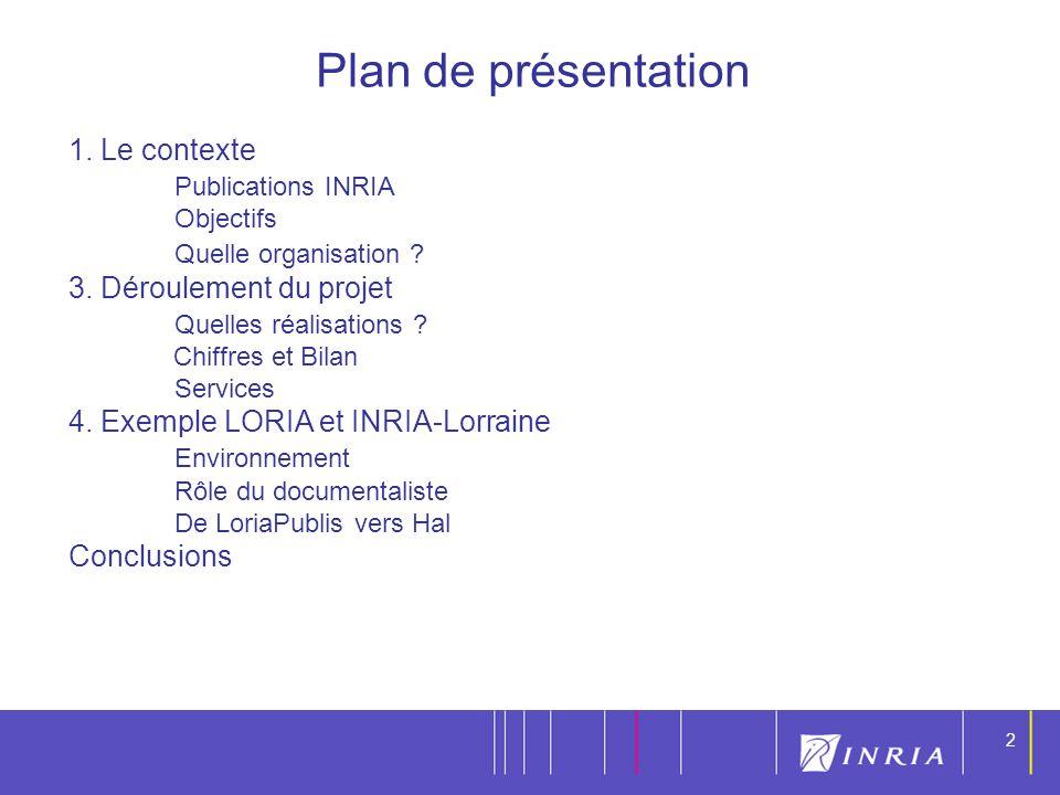 2 2 1. Le contexte Publications INRIA Objectifs Quelle organisation ? 3. Déroulement du projet Quelles réalisations ? Chiffres et Bilan Services 4. Ex
