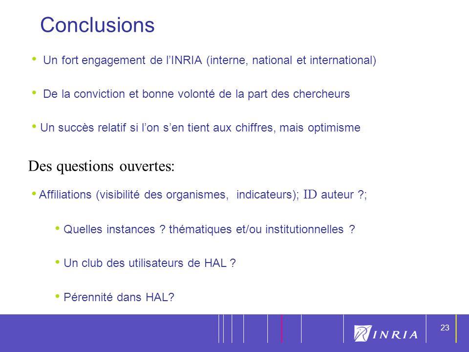 23 Conclusions Un fort engagement de lINRIA (interne, national et international) De la conviction et bonne volonté de la part des chercheurs Un succès