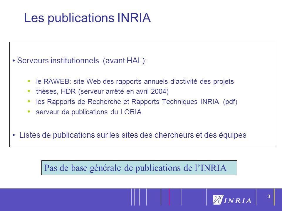 3 3 Serveurs institutionnels (avant HAL): le RAWEB: site Web des rapports annuels dactivité des projets thèses, HDR (serveur arrêté en avril 2004) les