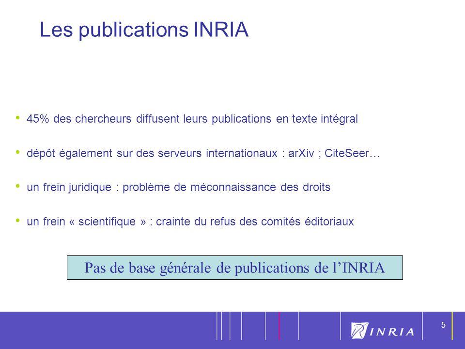 5 5 45% des chercheurs diffusent leurs publications en texte intégral dépôt également sur des serveurs internationaux : arXiv ; CiteSeer… un frein jur
