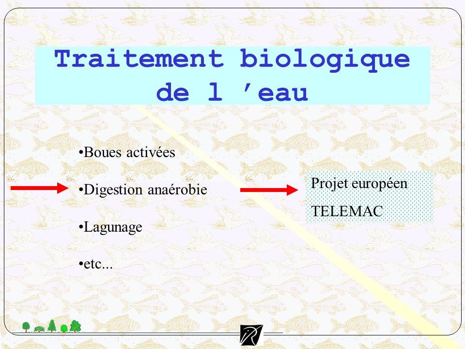 Traitement biologique de l eau Boues activées Digestion anaérobie Lagunage etc... Projet européen TELEMAC