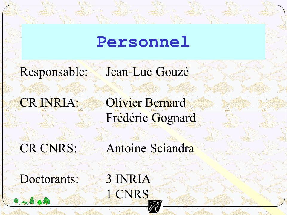 Personnel Responsable: Jean-Luc Gouzé CR INRIA: Olivier Bernard Frédéric Gognard CR CNRS: Antoine Sciandra Doctorants:3 INRIA 1 CNRS