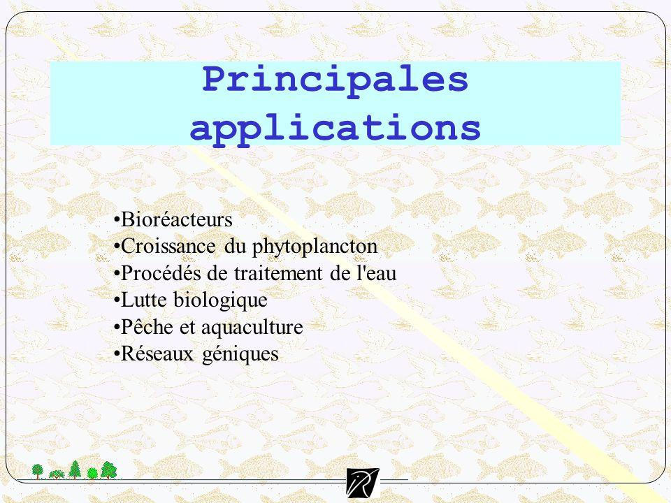 Principales applications Bioréacteurs Croissance du phytoplancton Procédés de traitement de l'eau Lutte biologique Pêche et aquaculture Réseaux géniqu