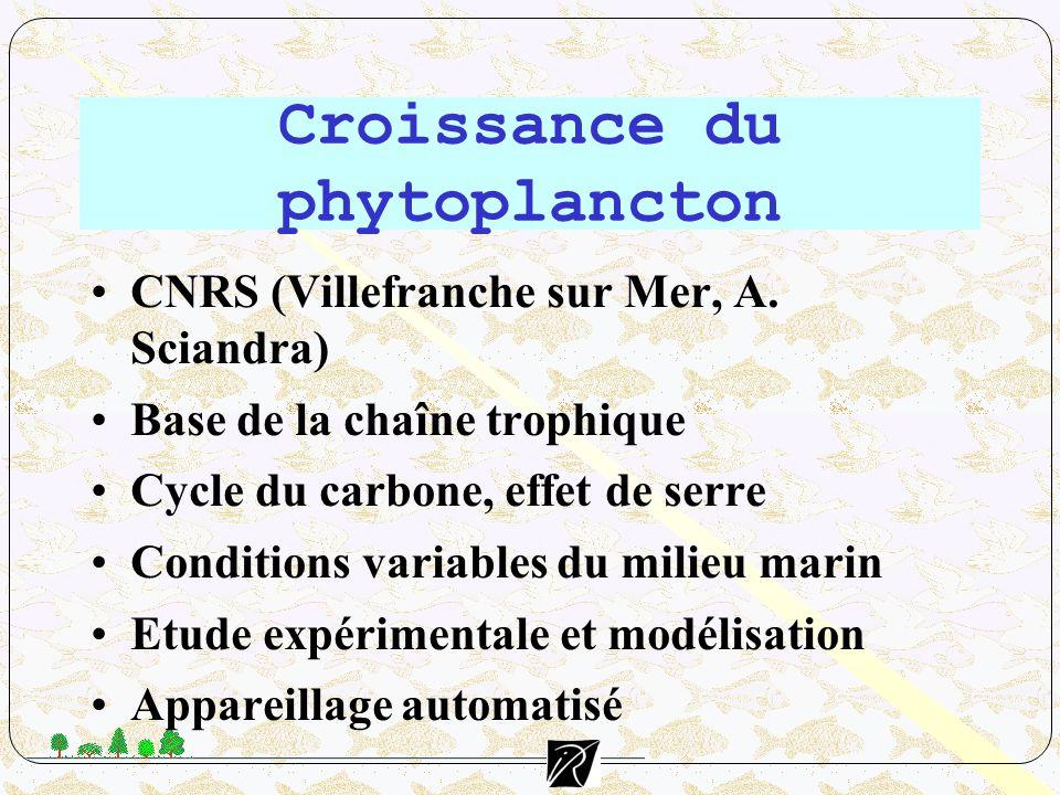 Croissance du phytoplancton CNRS (Villefranche sur Mer, A. Sciandra) Base de la chaîne trophique Cycle du carbone, effet de serre Conditions variables