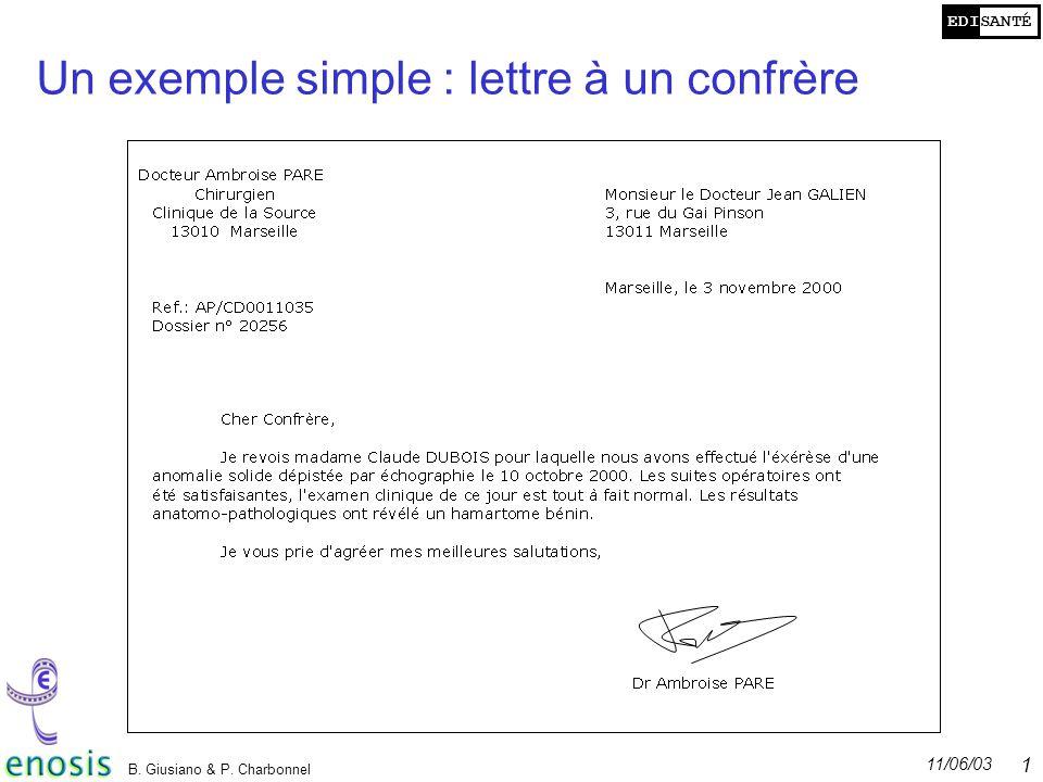 EDISANTÉ 11/06/03 B. Giusiano & P. Charbonnel 10 Un exemple simple : lettre à un confrère
