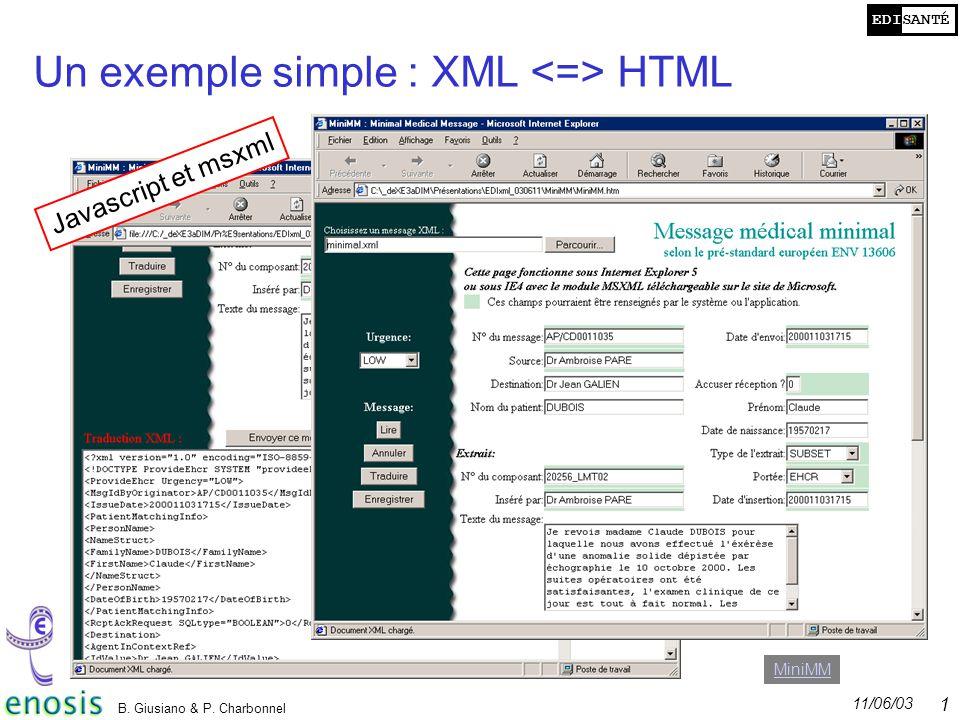 EDISANTÉ 11/06/03 B. Giusiano & P. Charbonnel 17 Un exemple simple : XML HTML Javascript et msxml MiniMM