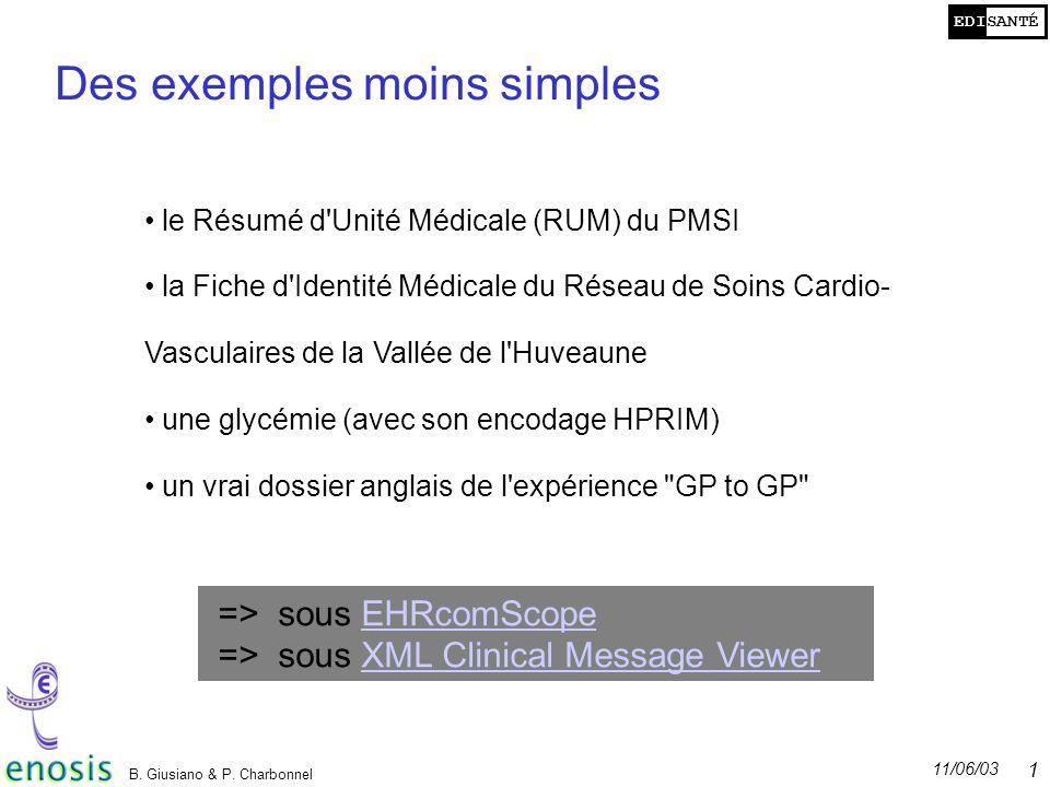 EDISANTÉ 11/06/03 B. Giusiano & P. Charbonnel 19 Des exemples moins simples le Résumé d'Unité Médicale (RUM) du PMSI la Fiche d'Identité Médicale du R