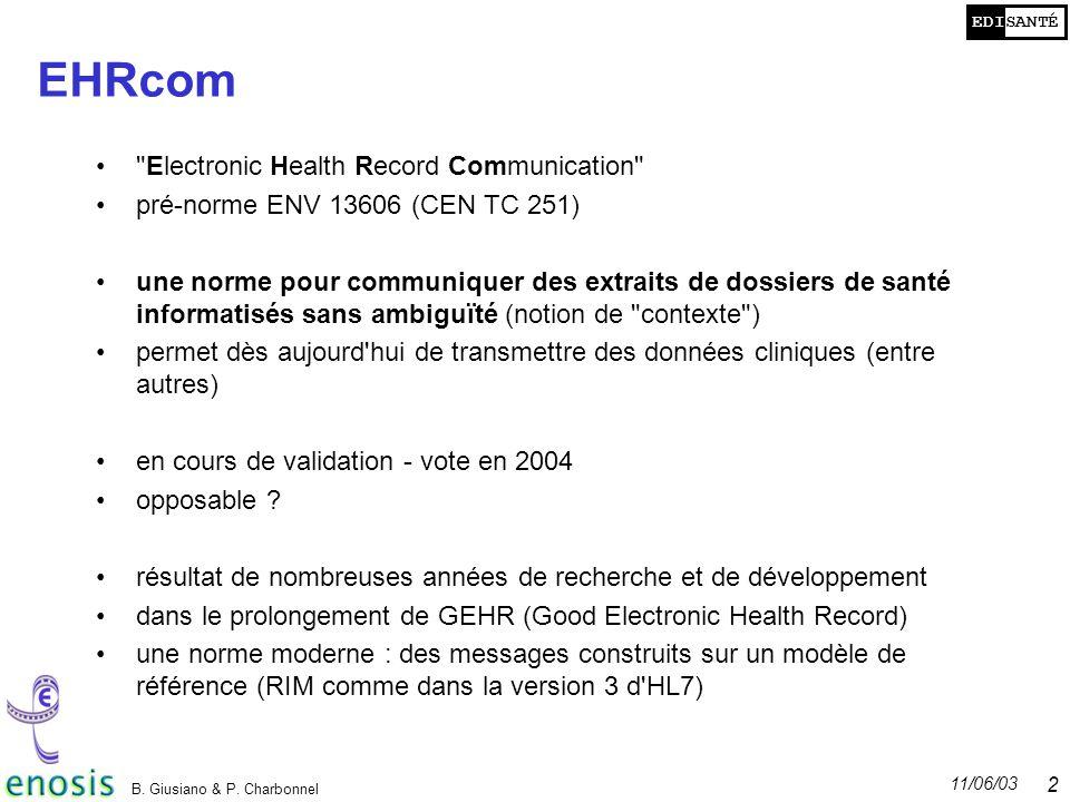 EDISANTÉ 11/06/03 B. Giusiano & P. Charbonnel 2 EHRcom