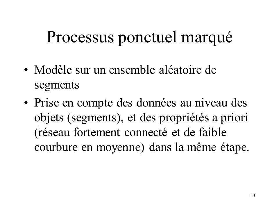 13 Processus ponctuel marqué Modèle sur un ensemble aléatoire de segments Prise en compte des données au niveau des objets (segments), et des propriétés a priori (réseau fortement connecté et de faible courbure en moyenne) dans la même étape.