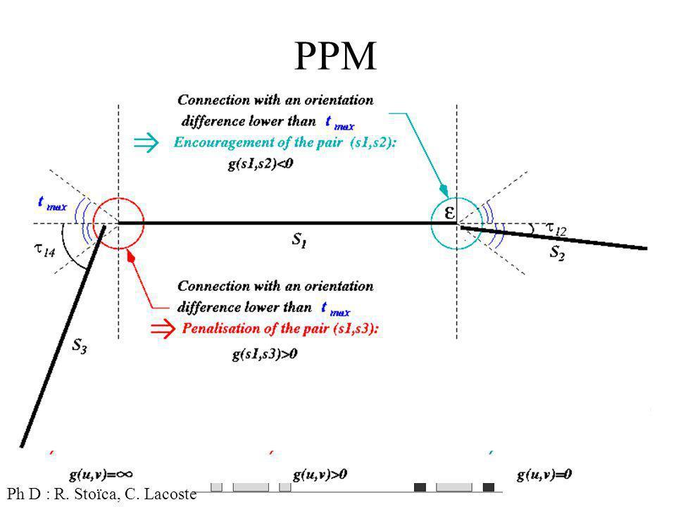 14 PPM Objets : Segments A Priori : connectivité et courbure Attache aux données Ph D : R.