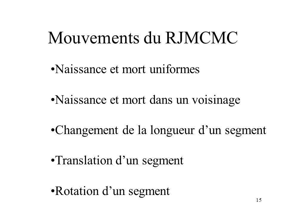 15 Mouvements du RJMCMC Naissance et mort uniformes Naissance et mort dans un voisinage Changement de la longueur dun segment Translation dun segment Rotation dun segment