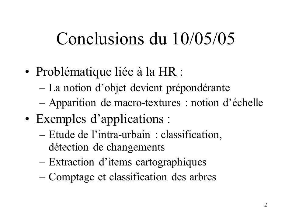 3 Conclusions du 10/05/05 Points méthodologiques –Modélisation au niveau du pixel –Modélisation au niveau de lobjet –Fusion –Aspects dynamiques