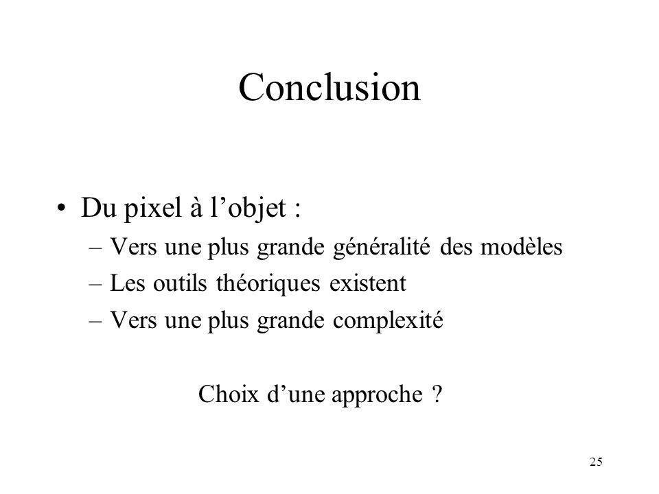25 Conclusion Du pixel à lobjet : –Vers une plus grande généralité des modèles –Les outils théoriques existent –Vers une plus grande complexité Choix dune approche
