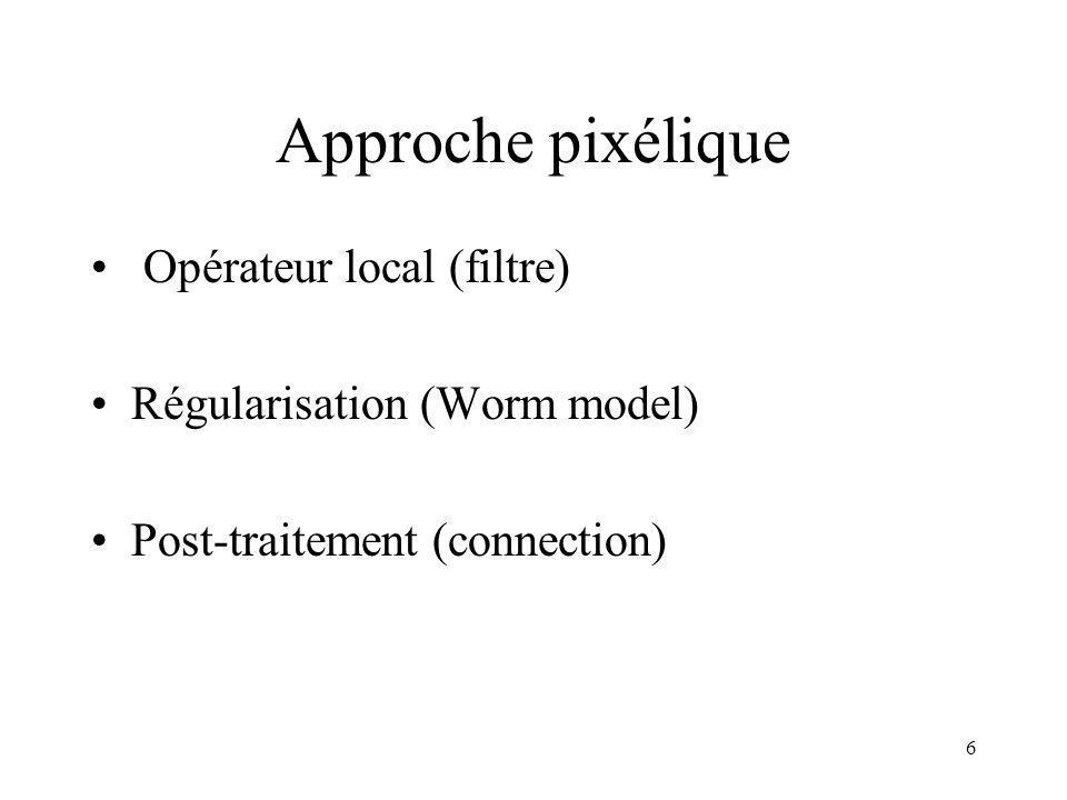 6 Approche pixélique Opérateur local (filtre) Régularisation (Worm model) Post-traitement (connection)