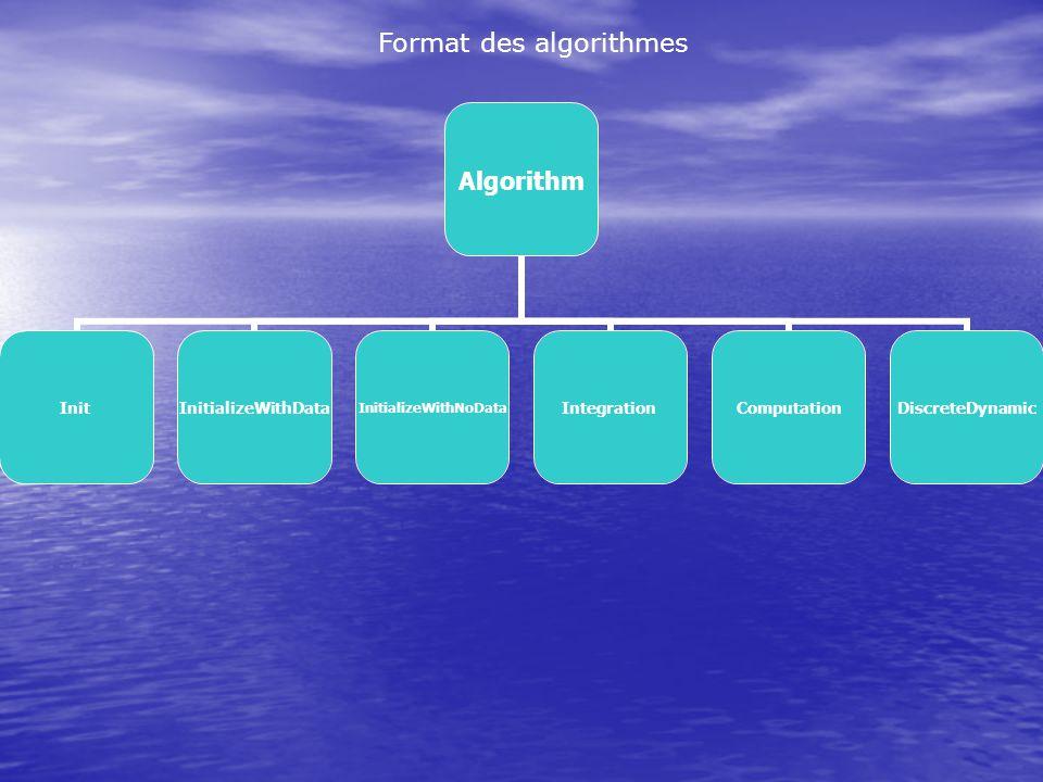 Format des algorithmes Algorithm InitInitializeWithDataInitializeWithNoDataIntegrationComputationDiscreteDynamic