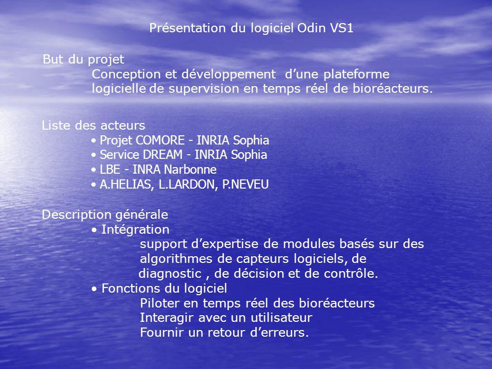 Présentation du logiciel Odin VS1 But du projet Conception et développement dune plateforme logicielle de supervision en temps réel de bioréacteurs. L