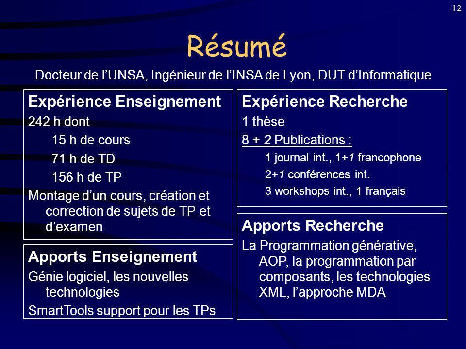11 Intégration Enseignement : Université de Nice Sophia-Antipolis ATER au département Informatique en 2001/02 DEUG MI, Licence Informatique et Licence