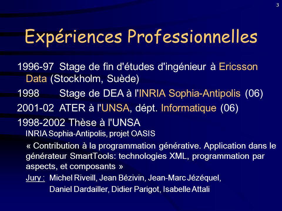 3 Expériences Professionnelles 1996-97 Stage de fin d études d ingénieur à Ericsson Data (Stockholm, Suède) 1998Stage de DEA à l INRIA Sophia-Antipolis (06) 2001-02 ATER à l UNSA, dépt.