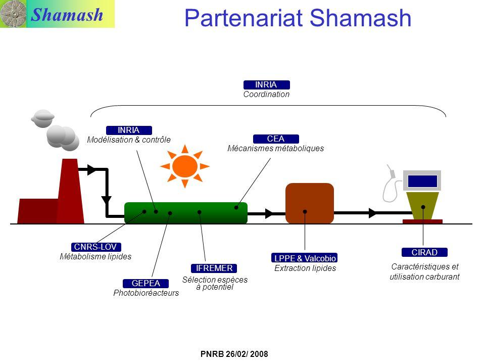 Shamash PNRB 26/02/ 2008 LPPE & Valcobio Extraction lipides CIRAD Caractéristiques et utilisation carburant IFREMER Sélection espèces à potentiel GEPE