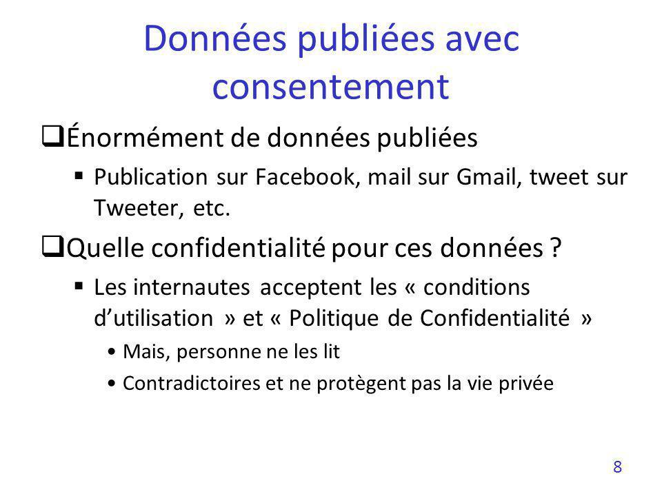 Énormément de données publiées Publication sur Facebook, mail sur Gmail, tweet sur Tweeter, etc. Quelle confidentialité pour ces données ? Les interna