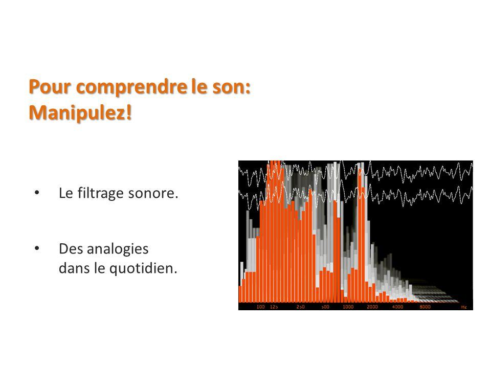 Pour comprendre le son: Manipulez! Le filtrage sonore. Des analogies dans le quotidien.