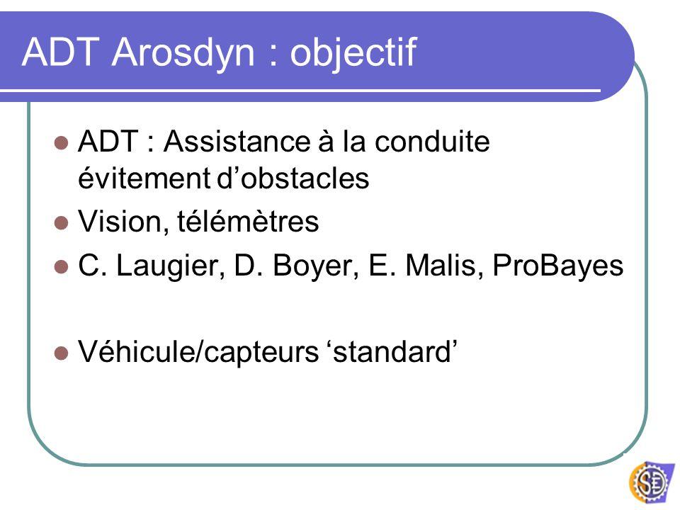ADT Arosdyn : objectif ADT : Assistance à la conduite évitement dobstacles Vision, télémètres C. Laugier, D. Boyer, E. Malis, ProBayes Véhicule/capteu