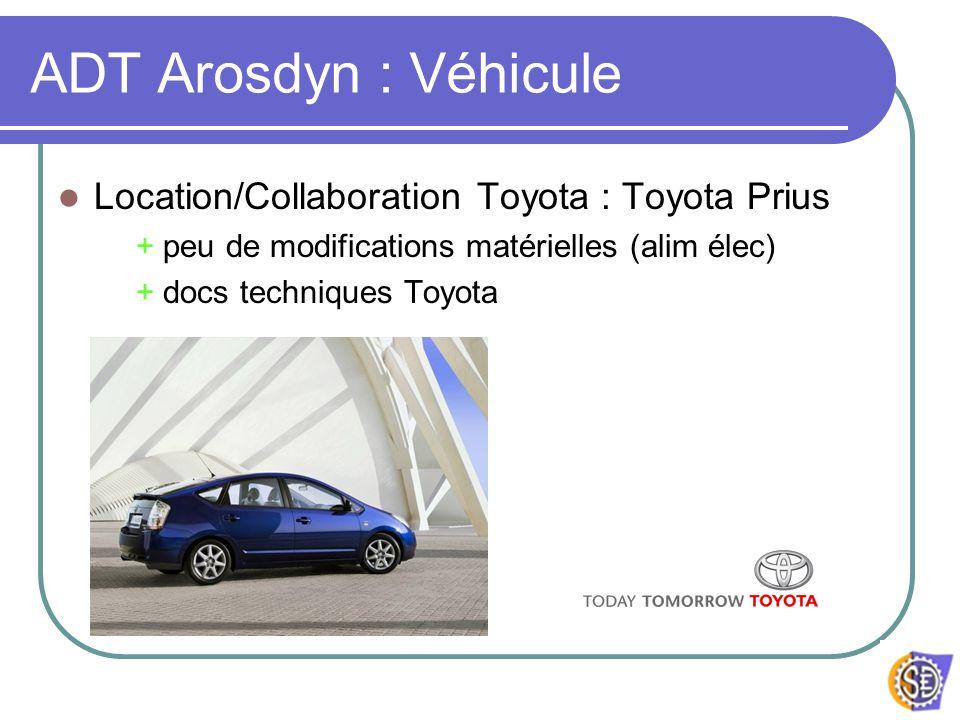 ADT Arosdyn : Véhicule Location/Collaboration Toyota : Toyota Prius + peu de modifications matérielles (alim élec) + docs techniques Toyota
