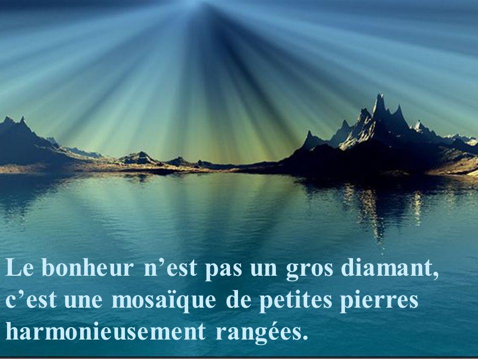 Le bonheur nest pas un gros diamant, cest une mosaïque de petites pierres harmonieusement rangées.