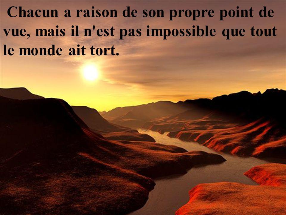 Chacun a raison de son propre point de vue, mais il n est pas impossible que tout le monde ait tort.