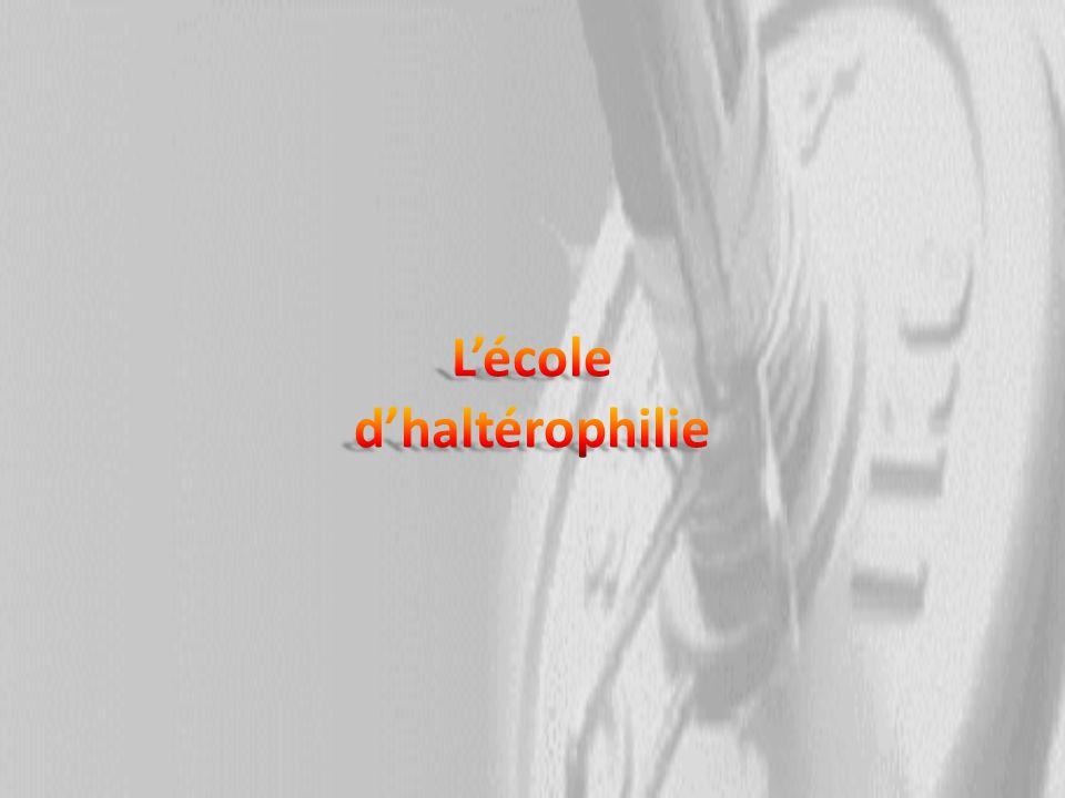 Principe Lécole dhaltérophilie sadresse aux jeunes de 10 à 14ans : Lobjectif principal est de sinitier aux techniques de porter et ce avec du matériel adapté (barre de 2,5kg).