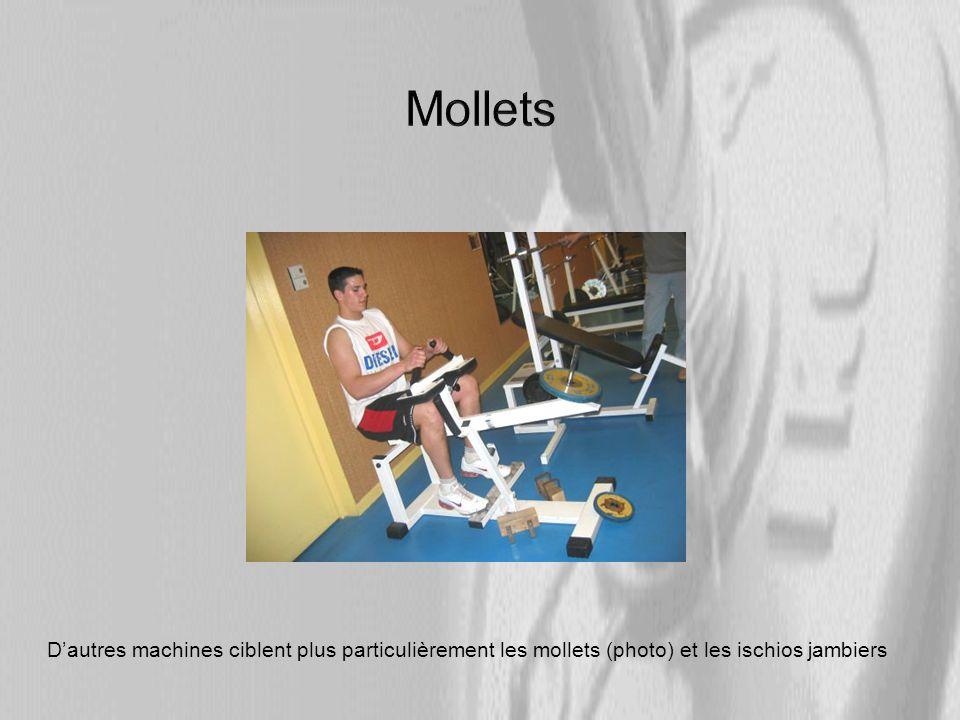 Dautres machines ciblent plus particulièrement les mollets (photo) et les ischios jambiers