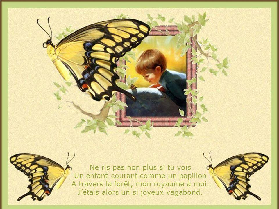 Ne ris pas non plus si tu vois Un enfant courant comme un papillon À travers la forêt, mon royaume à moi.