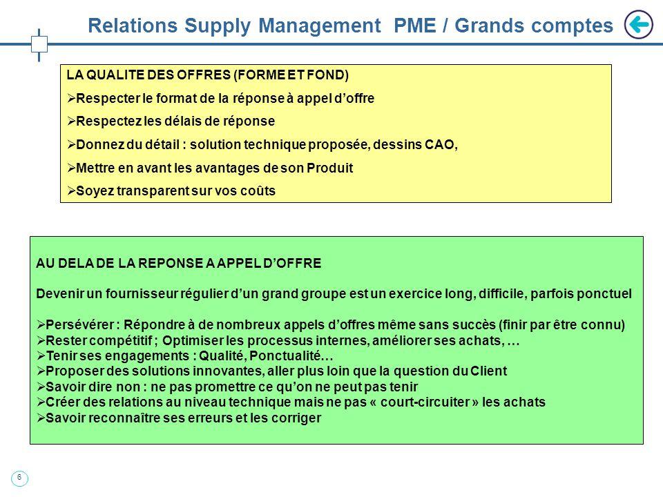 7 Relations Supply Management PME / Grands comptes CE QUI FAIT PEUR AUX ACHATS : Discours incohérent sur la stratégie de lentreprise (jy vais, jy vais pas…) Pas dinterlocuteur identifié (qui décide ?) Réponses contradictoires (on sait faire mais…) Manque dengagement (cest difficile…) Manque de transparence (on ne peut rien vous montrer…) Pas de service qualité, atelier en désordre (on va ranger…) LES ATOUTS DES « PETITES STRUCTURES » : Réactivité : les Programmes sont toujours en retard… Flexibilité : les spécifications évoluent souvent… Innovation : Très performant sur un Produit / technologie Compétitivité : Ressources optimisées, pas de « sur couches » LOW COST COUNTRY (LCC) Tendance forte dans les grands groupes, mais parfois des expériences douloureuses… Vos forces : la proximité, la qualité, la réactivité, la maîtrise de la technologie Vos faiblesses : « la tendance », les coûts horaires, Pour des petites ou moyennes séries, sur des produits techniques, la rentabilité du LCC reste à démontrer : les PME peuvent proposer des alternatives crédibles.