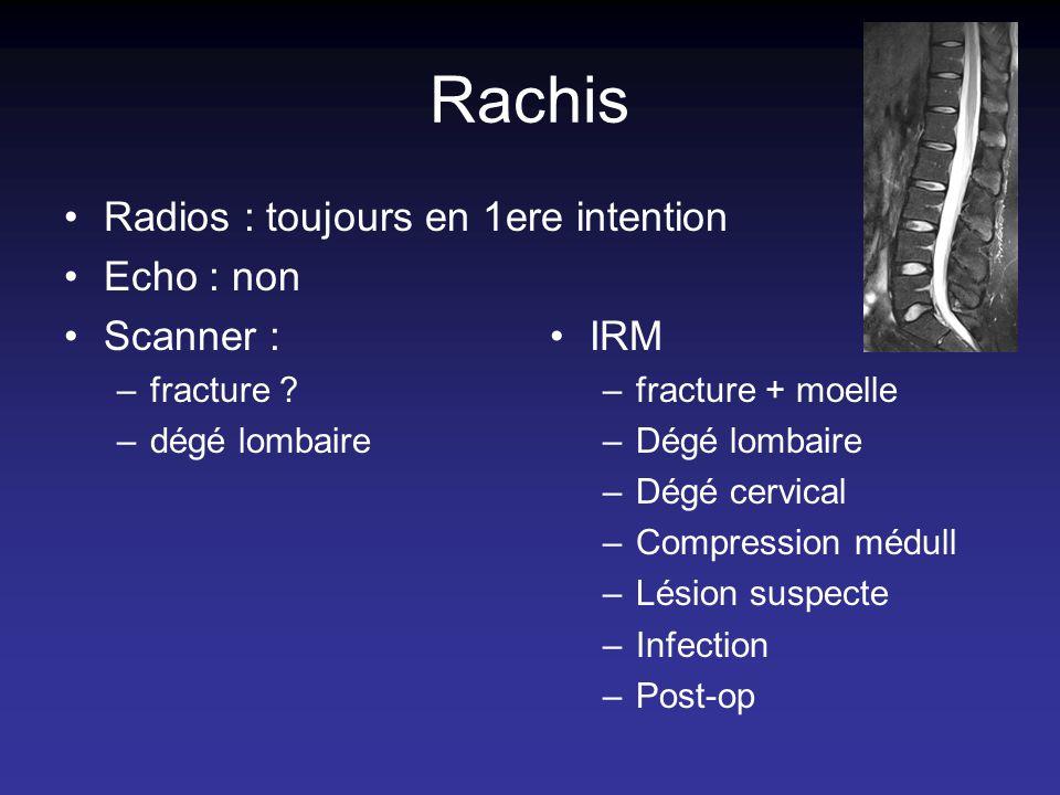 Rachis Radios : toujours en 1ere intention Echo : non Scanner : –fracture ? –dégé lombaire IRM –fracture + moelle –Dégé lombaire –Dégé cervical –Compr