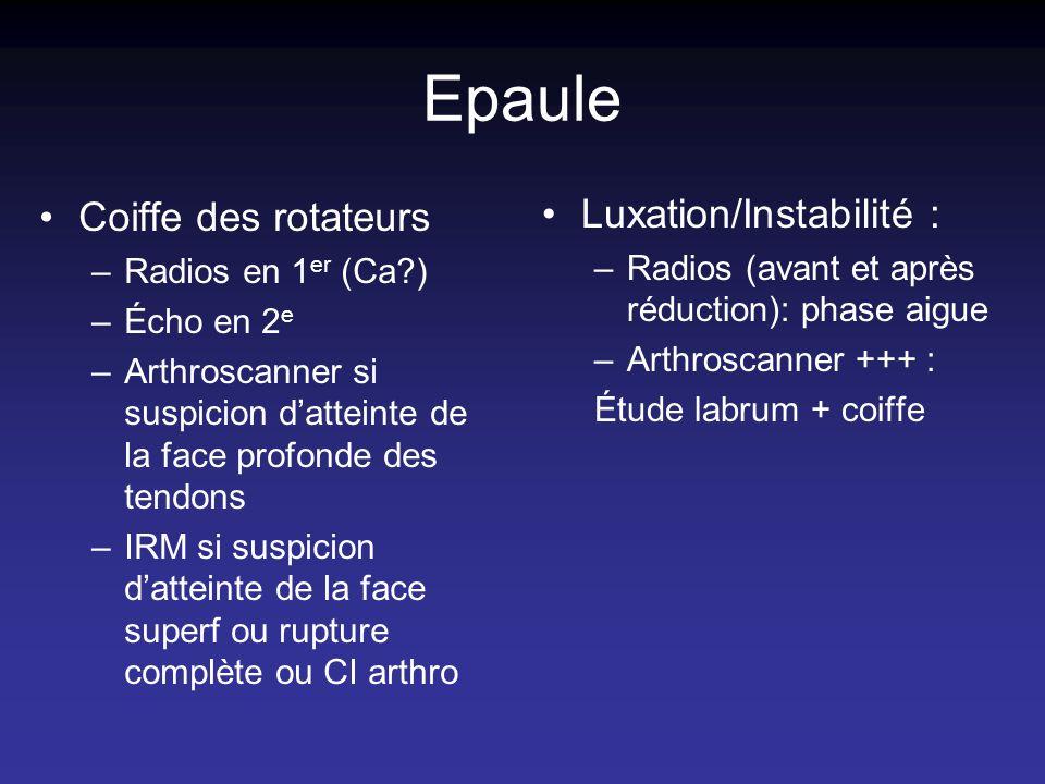 Epaule Coiffe des rotateurs –Radios en 1 er (Ca?) –Écho en 2 e –Arthroscanner si suspicion datteinte de la face profonde des tendons –IRM si suspicion